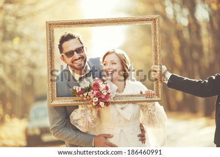 Happy groom and bride together. Couple on wedding day. - stock photo