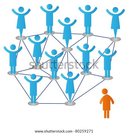 Happy group and alone person - stock photo