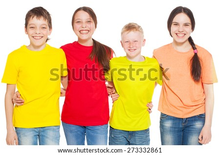 Happy group children isolated at white background. Smiling teen. Friendship boys and girls  - stock photo