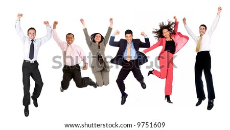 happy group of business people jumping - isolated over a white background - stock photo