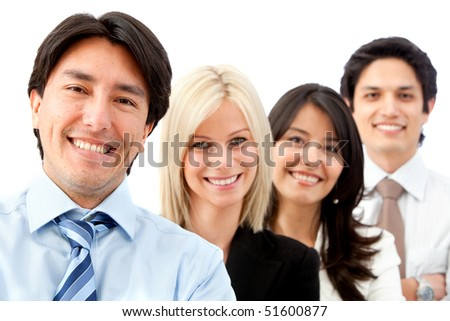 Happy group of business people smiling over a white background