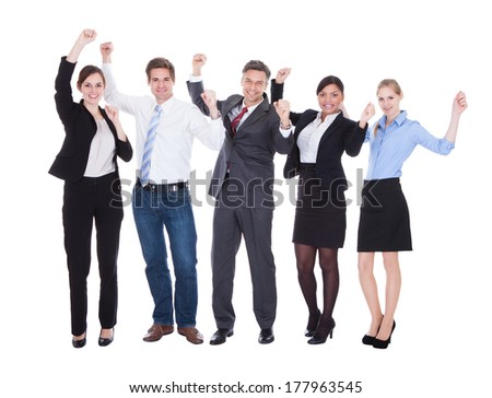 Happy Group Of Businesspeople Raising Hand Over White Background - stock photo