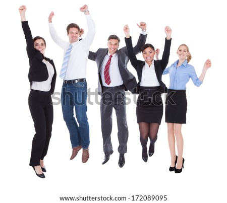 Happy Group Of Businesspeople Raising Hands Over White Background - stock photo