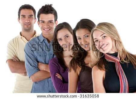 Happy group of casual friends isolated over white