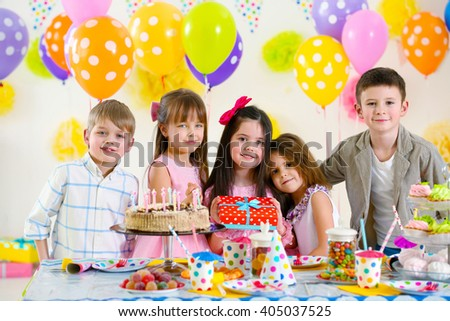 Happy group of children at birthday party