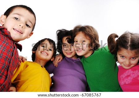Happy group of children, different colors, smiling - stock photo