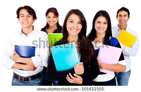Happy group of college students - isolated over a white background - stock photo