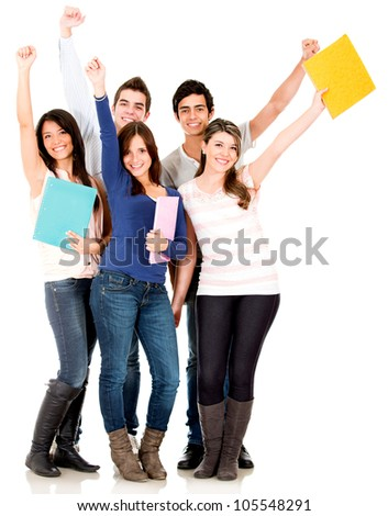 Happy group of college students with arms up - isolated over white - stock photo