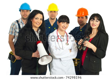 Happy group of different careers people  isolated on white background - stock photo