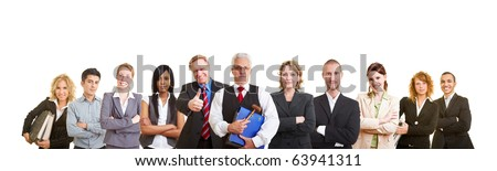 Happy group of different male and female lawyers - stock photo