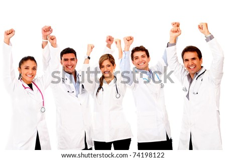 Happy group of doctors with arms up - isolated over white - stock photo