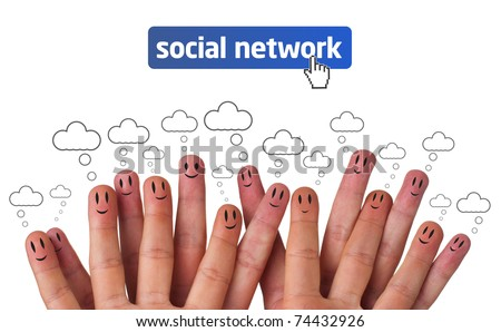 Happy group of finger faces as social network with speech bubbles - stock photo