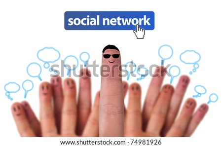 Happy group of finger smileys as social network with speech bubbles - stock photo