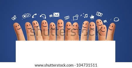 Happy group of finger smileys, concept of social network