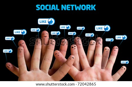 Happy group of finger smileys, social network theme - stock photo