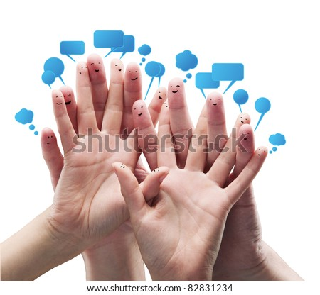 Happy group of finger smileys with social chat sign and speech bubbles.Isolated on a white background - stock photo