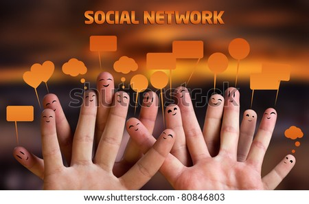Happy group of finger smileys with speech bubbles 2 - stock photo