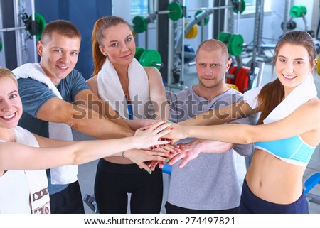Happy group of fit people