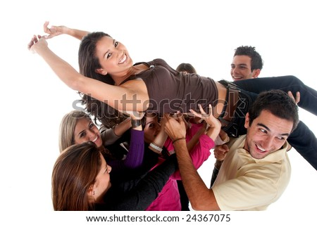 Happy group of friends carrying one of the girls - isolated