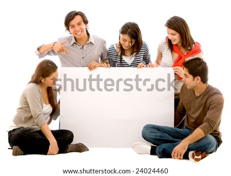 happy group of friends holding a banner ad - stock photo