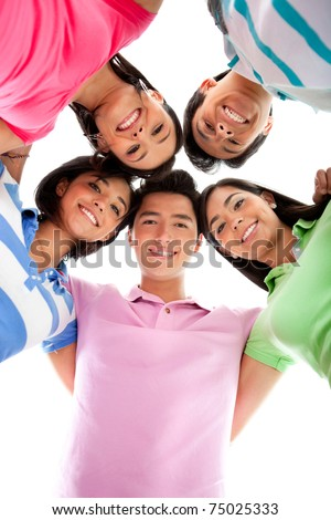 Happy group of friends in a circle - isolated over white