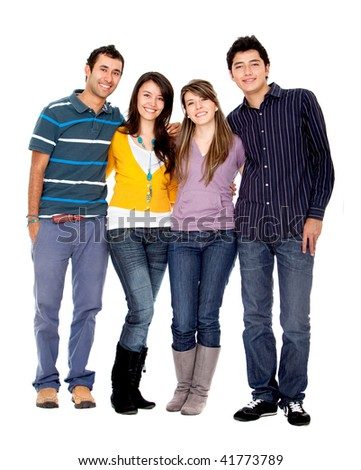 Happy group of friends isolated over a white background - stock photo