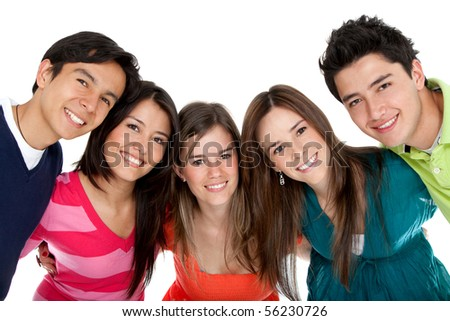 Happy group of friends - isolated over a white background - stock photo