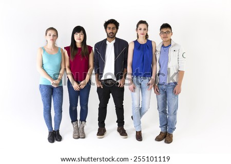 Happy group of friends. Mixed race group. Isolated on a white background. - stock photo