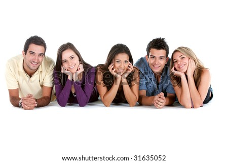 Happy group of friends on the floor isolated over white - stock photo