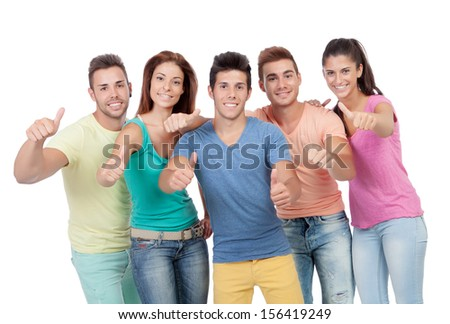 Happy group of friends saying Ok isolated on white background