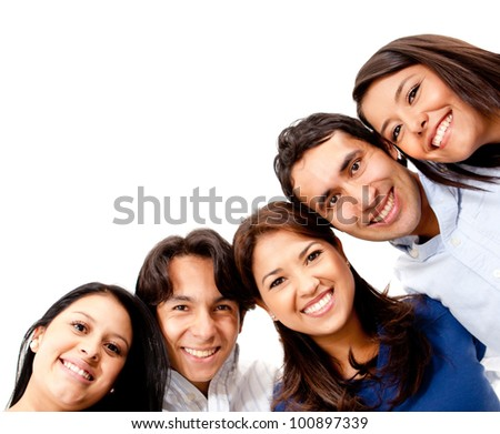 Happy group of friends smiling - isolated over a white background