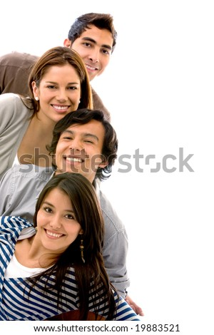 happy group of friends smiling isolated over a white background - stock photo