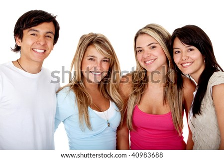 Happy group of friends smiling isolated over a white background