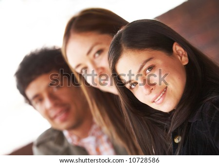 happy group of friends smiling outdoors portrait - stock photo