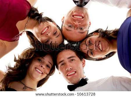happy group of friends smiling with their heads together isolated over a white background