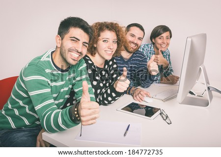 Happy Group of Friends Studying - stock photo
