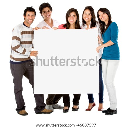 Happy group of friends together holding a banner isolated on white - stock photo