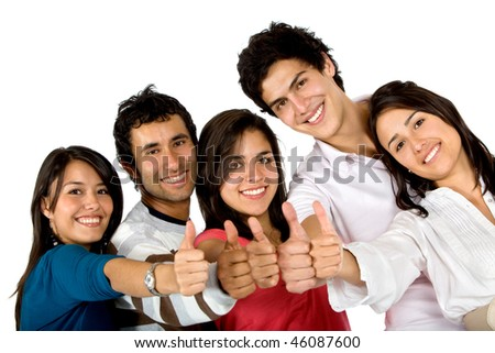 Happy group of friends together with thumbs up isolated on white - stock photo