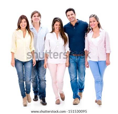 Happy group of friends walking - isolated over a white background