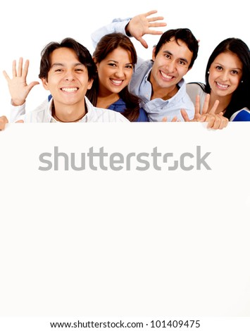 Happy group of friends with banner - isolated over a white background