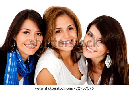 Happy group of girls smiling - isolated over white - stock photo