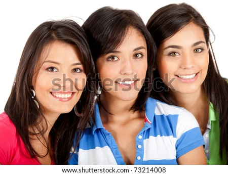 Happy group of girls smiling - isolated over white