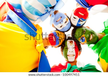 Happy group of Latin American people smiling - stock photo