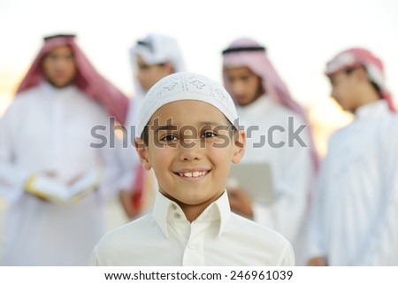 Happy group of Middle eastern Gulf boys