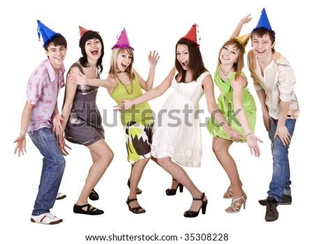 Happy group of people celebrate birthday. Isolated. - stock photo