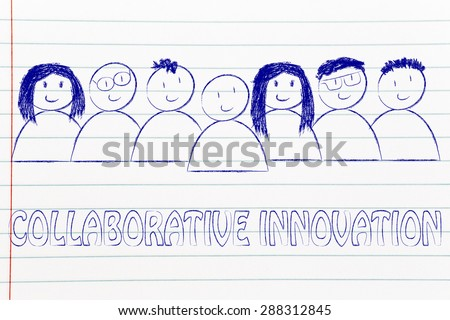 happy group of people dedicated to collaborative innovation - stock photo