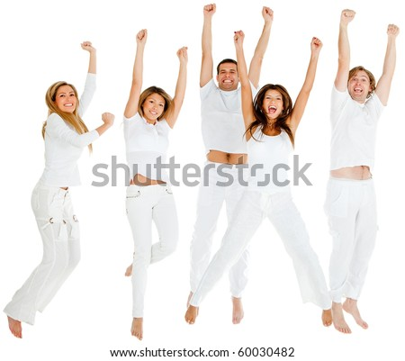 Happy group of people jumping - isolated over a white background - stock photo