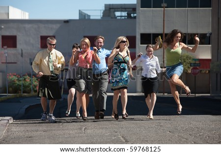 Happy group of people love to have fun and exercise. - stock photo
