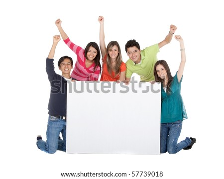 Happy group of people with a banner and arms up - isolated over a white background - stock photo