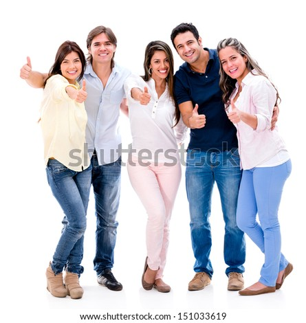 Happy group of people with thumbs up - isolated over white background  - stock photo